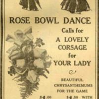 Claude Hull Florist Rose Bowl advertisement, 1941