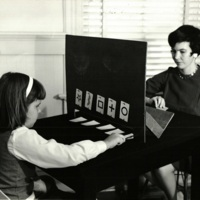 Sally Rhine Feather and her daughter testing with Zener cards