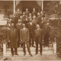 Booker T. Washington is located on the third row, second from the left. C. C. Spaulding, Sr. is on the second row, to the extreme left and John Merrick is on the second row, extreme right. Famed educator Mary Mc Leod Bethune, is on the fourth row in the center of the photograph.<br /><br /> <br /><br /> Handwritten at bottom of photograph: &quot;Daytona, Fla., 1913. Booker T. Washington &amp; party. By A.P.Becker [?]&quot;