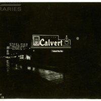 Free Pier. [Calvert sign, night], May 15, 1938.<br />