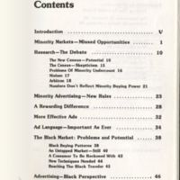 """""""Table of Contents."""" Minority Marketing. Chicago: Crain, 1980. Print."""