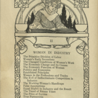 Decorative page for Woman in Industry section of book with illustration of woman writing with a feather quill, wearing a large headpiece, and decorative borders of drawings of fruit