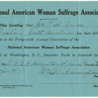 Faded light blue typed and hand-written card designating Maddie Southgate-Jones as an offical delegate to the forty-ninth Annual Convention of the National American League of Women Suffrage