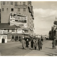 Boardwalk. [Bromo Seltzer billboard, daytime], February 22, 1939.<br />
