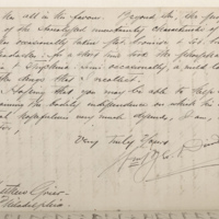 """Letter from Dr. William Drinkard of Washington to Dr. Matthew Grier,"" 1873. Walt Whitman Papers. Volume 122."