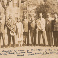 "Caption: ""Sons and a daughter of some of the Mgrs. of the N.C. Mut. Life Ins. Co. Messers Harvey, Harvey, Clement, Mrs. Leathers-Babcocks, Messers Clement, Harrods?, Alston, Bolden, Leathers, Bolden."" Taken at April 1939 meeting of South Carolina Negro Underwriters Association. All are second-generation employees of N.C. Mutual: W.O. Harvey"