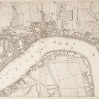 """Section 8 of """"A plan of the cities of London and Westminster, and borough of Southwark, with the contiguous buildings"""" by John Rocque, 1746-1749."""