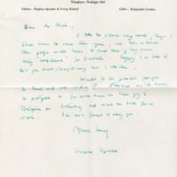 Letter. Reynolds Price papers, David M. Rubenstein Rare Book & Manuscript Library.