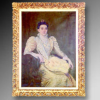 &quot;Mrs. Benjamin N. Duke (Sarah Pearson), in crystal anniversary dress, 1894, Oil on canvas, 36&quot;&quot; x 50&quot;&quot;, by Norval H. Busey<br />