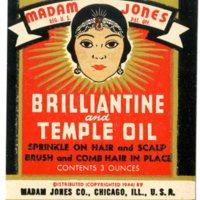 Madame Jones Brilliantine and Temple Oil label