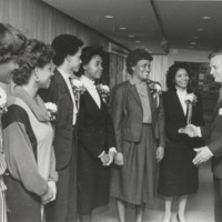N. C. Mutual Home Office staff with visiting North Carolina Governor James B. Hunt, Jr.