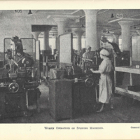 Black and white photograph in book of three women wearing light colored uniforms and caps, working on industrial splinging machines
