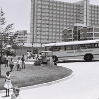 Students and school buses at La Habana del Este, January 1964