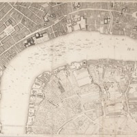 """Section 6 of """"A plan of the cities of London and Westminster, and borough of Southwark, with the contiguous buildings"""" by John Rocque, 1746-1749."""