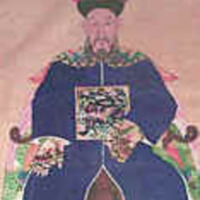 &quot;Elderly Man, Silk scroll, 42&quot;&quot; x 72&quot;&quot;<br /> The man painted on this silk scroll probably represents a family ancestor. His body and elaborate robes are stylized and two-dimensional, yet his face is modeled, giving the impression that this could be a life portrait. The family treated such ancestral figures with respect and often informed them of important domestic concerns.<br /> The ancestor&#039;s hat identifies him as dating from the Qing Dynasty, in the mid-eighteenth century. The patch with a bird, pictured on the front of his robe, is called a mandarin square, a badge of first rank, prescribed for official robes by the sumptuary laws of 1391. The colorful pheasant embroidered on this patch indicates that the man was a civil official of the first or second rank. Five bats surround the shield and dragons decorate the shoulders, sleeves, and skirt.<br /> This scroll was one of four donated to the Library in 1962 by Mrs. James A. Thomas. The other three, one depicting a lady, another a group setting, and the third calligraphy, also hang in the Thomas Reading Room.&quot;