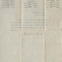 Typed letter in blue ink with handwritten signature and typed letterhead of the Equal Suffrage Association of North Carolina, on creased paper