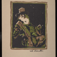 "William Schnelle, ""Walt Whitman Portrait,"" undated. Three-colored cut original. Walt Whitman Papers, Box 12, Folder 21.<br /><br />"