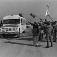 Crossing UFW picket line, near Immokalee, FL, 1979<br /> <br /> John Moses Photographs<br /> gelatin silver print