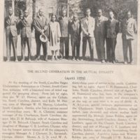Clipping from a newspaper or other publication.  Photograph shows men and women posing in front of home.  Essay states photo is from meeting of South Carolina Negro Underwriters Association in Chester, S.C., April 1939. Identified in photo: W.O. Harvey
