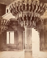 Futtypore Sikri; Remarkable Pillar in the centre of the Diwan-i-Kass, or Hall of Audience<br />