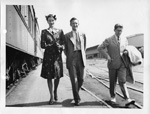 Doris Duke Cromwell with Frank Bancroft, USS Gulf Coast Chairman and Jack Kamaiko, USS Port Area Executive, June 15, 1944
