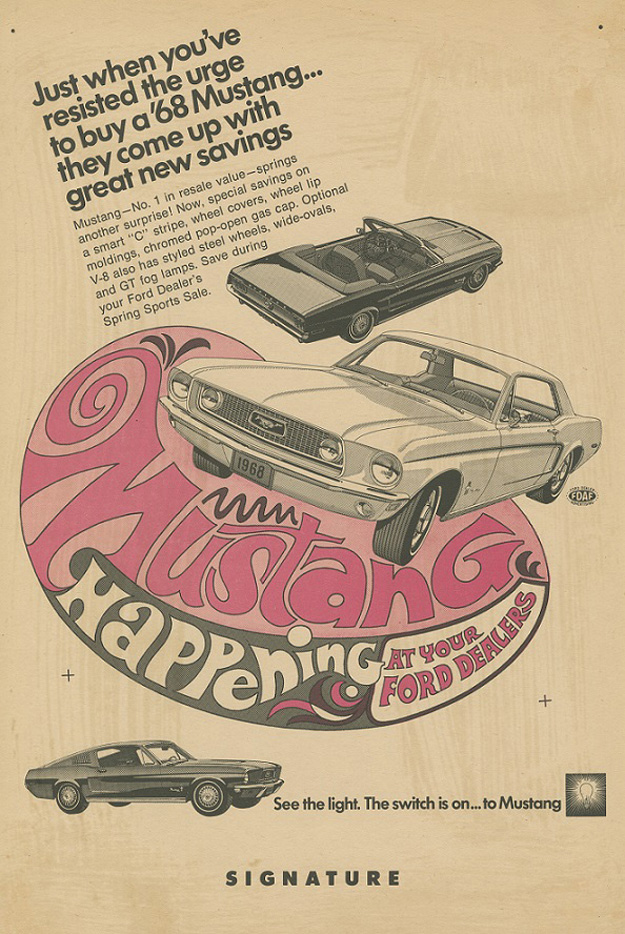 Ford Dealer Mustang ad, 1968.