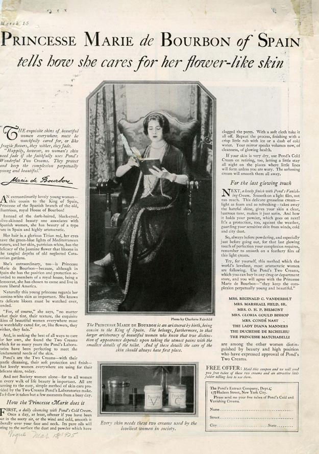 Pond's ad featuring Marie de Bourbon, 1926.