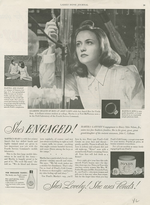 A 1942 Pond's Cold Cream ad featuring a war bride working in a Field Laboratory.