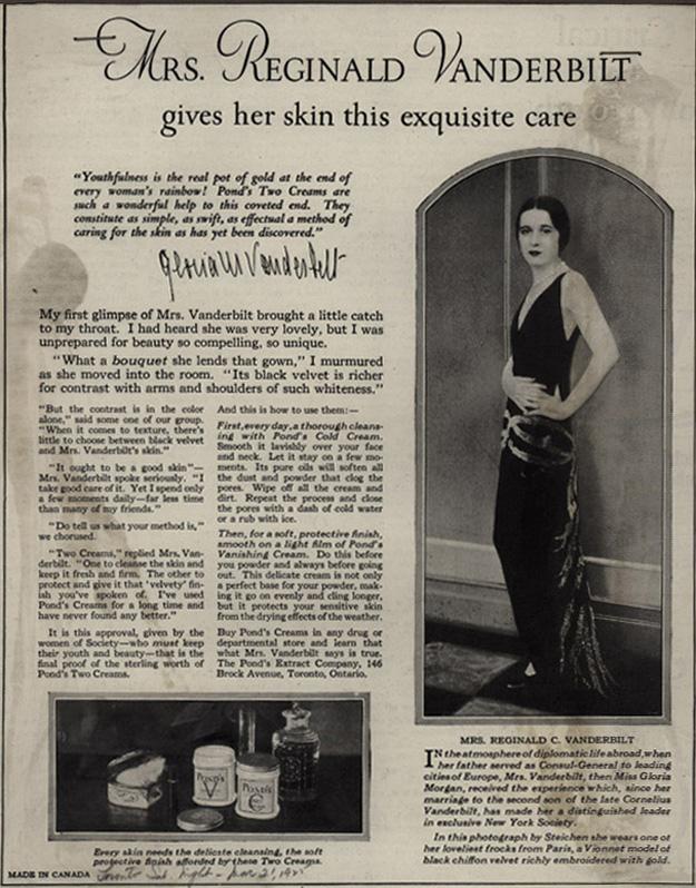 Pond's ad featuring photo of Gloria Vanderbilt by Edward Steichen, 1925.