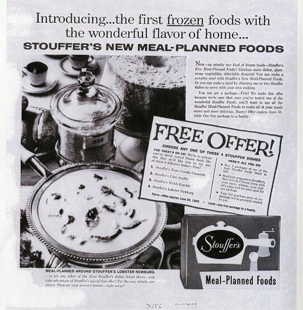 Stouffer's ad for Lobster Newburg, 1950s
