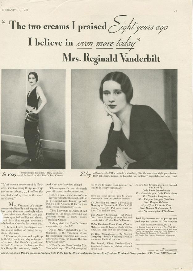 Pond's ad featuring photos of Gloria Vanderbilt by Edward Steichen and Dorothy Wilding, 1933.