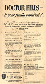Blue Cross Blue Shield, late 1940s.