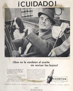 Spanish language Champion Spark Plug ad, 1956.
