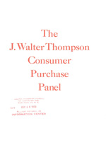 Consumer panel publication 1956 Cover