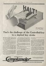 Advertisement for the Comptometer adding machine, 1917.
