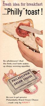 Kraft Philadelphia Cream Cheese, 1940s.