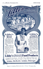 This 1906 advertisement includes a recipe book offer.