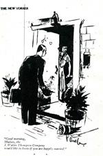 New Yorker Cartoon Featuring JWT Door to Door Market Research, 1939.