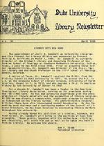 Duke University Library Newsletter article, April 1985.