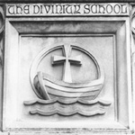 Carving of Divinity School logo, Gray Building.