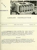Duke University Library Newsletter announces open stacks, September 1971.